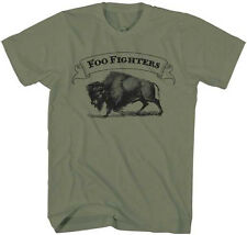 Foo Fighters-Buffalo Banner- X-Large Olive Green Lightweight  T-shirt