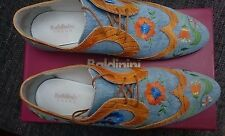 Baldinini Women Blue Jeans & Tan Leather with Embroidered Flowers Shoes