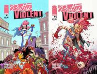 Pretty Violent Comic # 1A & 1B * 1st Print 2019 Derek Hunter - Images