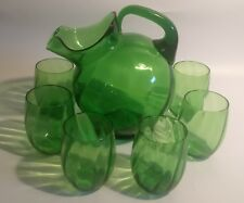 Cambridge Emerald Green Tilted Ball Jug #3900 with Six Matching Tumblers