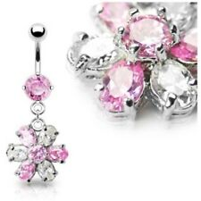 BEAUTIFUL FLOWER PETAL BELLY RING CZ PINK NAVEL A-135