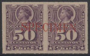 "CHILE 1878-99 COLUMBUS Sc 35 VIOLET PAIR OVPTD ""SPECIMEN"" MNH VF"