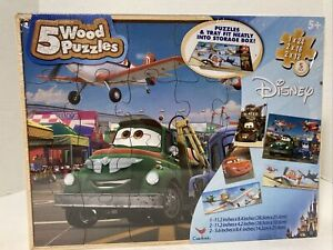 Disney Cars, Airplanes 5 Wood Puzzles by Cardinal With Tray & Storage Box