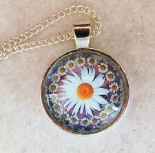 """DAISY CHAIN 1"""" glass pendant necklace handmade silver plated 20 """"chain"""