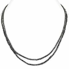 """2 Row 18"""" 3mm Black Diamond Necklace with Silv Clasp.70 ct.Earth Mined-Certified"""