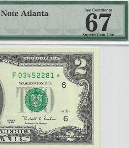 1995 $2 ATLANTA * STAR * ⭐️ FRN,  PMG SUPERB GEM UNCIRCULATED 67 EPQ BANKNOTE