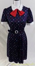 Carriage Court Vtg 80s Navy Blue Polka Dot Polyester Swing Belted Dress -8-