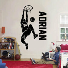 Custom Name & No. Basketball Player Wall Sticker Vinyl Home Décor Boys Room Art