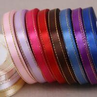 25 yards 3/8'' (10mm) Gold edge ribbon satin ribbons gift packaging ribbons