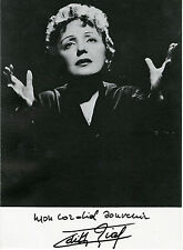 """Edith PIAF"" Carte-postale originale signée (LA ROUE TOURNE années 60) 10,5x14,5"