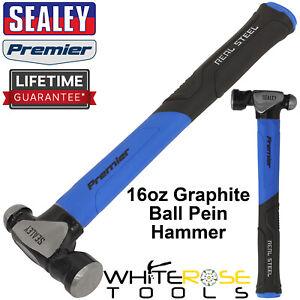 Sealey Ball Pein Hammer 16oz 450g Graphite Premier Carbon Steel Rubber Grip
