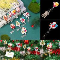 Xmas Tree Santa Claus Retractable Flip Badge Reel ID Lanyard Tag Badge Holder