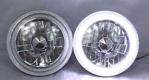 """1969-1972 Audi Super 90 7"""" Round 6014/6015/6024 White LED SMD Halo Headlights"""