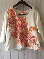 Hearts of Palm Women's  long Sleeve Floral Print  Top Shirt Sz XL