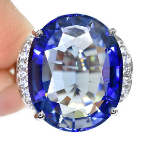 BLUE TANZANITE OVAL RING UNHEATED SILVER 925 22.40 CT 21X16 MM. SIZE 6.5