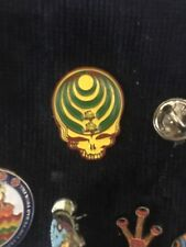 Bassnectar Stealie Hat Pin Yellow Green Red Grateful Dead Steal Your Face Skull