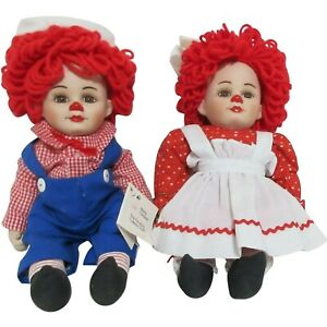 """COLLECTABLE MARIE OSMOND """"TWINS"""" PORCELAIN DOLLS ROSIE & RAGS - BRAND NEW"""