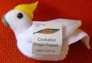 AUSTRALIAN ANIMAL FUNDRAISER GIFT COCKATOO Soft Material FINGER PUPPET
