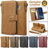 Genuine Cowhide Leather Wallet Case Cover for Samsung S6 S7 S8 S9 S10 S20 Plus