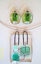 "Dichroic 1950's Chic ""ITALY 925"" Sterling Art Glass Earring & Pendant Choker Set"