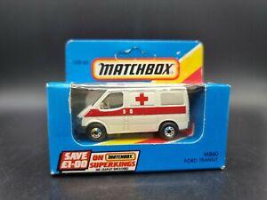 VINTAGE Matchbox Superfast MB60 Ford Transit Ambulance 1981 1:64 Scale Diecast