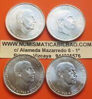 4 monedas x 100 PESETAS 1966 * 66+67+68+70 PLATA SIN CIRCULAR FRANCO España UNC