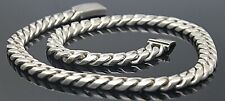 "Sterling Silver Modernist 18.5"" Necklace Taxco Mexico Solid Heavy Cuban Link"
