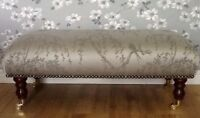 Footstool Stool In Laura Ashley Weeping Willow Fabric