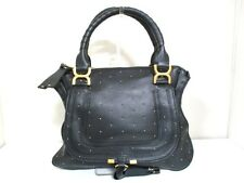 Authentic Chloe Black Gold Marcie Leather Handbag w/ Guarantee