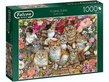 Jumbo 1000pc Floral Cats Jigsaw Puzzle -