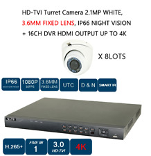8 LOT HD-TVI Turret Camera 2.1MP, 3.6MM FIXED LENS, NIGHT VISION + 16 CH DVR