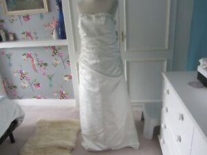 Ivory beaded lace up satin dress size 16