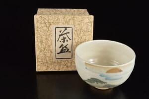 P6738: Japanese Kiyomizu-ware Landscape Muffle painting TEA BOWL Green tea tool