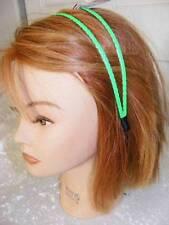 $10 LULU Hair Band Headband Split Wire Wide Braided Pleather Bright Neon Green