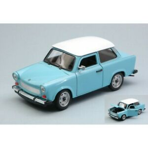 ✨WELLY TRABANT 601 1964-1990 LIGHT BLUE W/WHITE ROOF 1:24