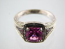 925 Cz Solitaire With Accents Size 6 Fd Sterling Silver Pink Cubic Zirconia Ring