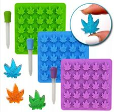 1Silicone Mould cannabis leaf baking chocolate Sweet Gummie Cake candy weed pot