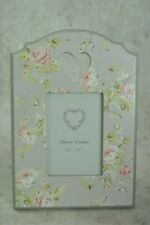 """Chintz Vintage style French Grey Photo Frame 3.5"""" x 5"""" with pinks and greens flo"""