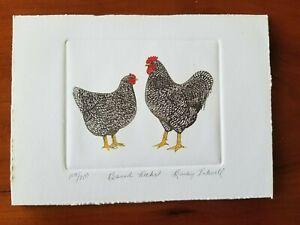 Print/etching? BARRED ROCKS Bailey Tidwell Signed 129/750 - free USA shipping