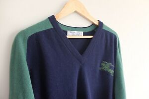 Vintage Burberry 80s pullover Lambswool  Navy Green XL 44' Burberrys