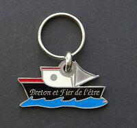 PORTE CLE BRETON ET FIER DE L'ETRE ! Bretagne bzh breizh Tricolore bateau 2