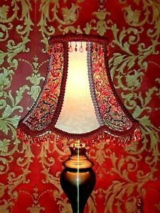 *SALE* Victorian Vintage Quirky Pink Paisley Glass Table Lampshade Handmade Deco