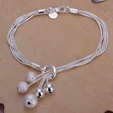 Fashion 925Sterling Solid Silver Jewelry 5Chain Ball Bracelet For Women H243