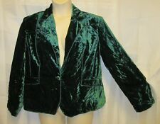 NWT Lane Bryant 16 1x Crushed Velvet Blazer Jacket Green Soft Steampunk New Xmas