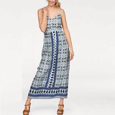 Gr.42 ** MAXIKLEID Maxi Kleid Blumen Ranken BOHO GOA DRESS blau Sommerkleid