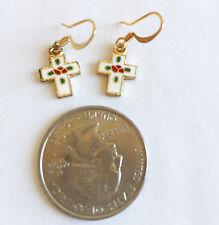 Cross Gold Plate with Enamel Charm Dangle Earrings