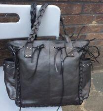 "Whistles Ladies Large Grey Leather Boho Hobo  Tassels Shoulder Bag W17"" X 14"" H"