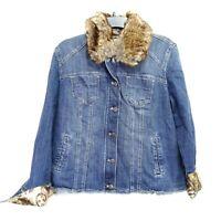 New Chicos Womens Faux-Fur Collar Blue Stretch Denim Jacket Sz 1 8 / 10