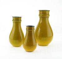 3 x Carstens Tönnieshof Keramik Vase senfgleb orange Mid Century 60er mcm