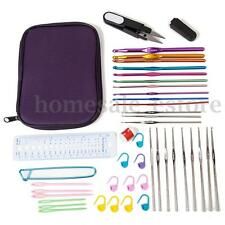 42pcs Set Aluminum Crochet Hook Kit Weave Yarn Knitting Needles Sewing Tool Case